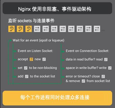 Nginx 通过事件驱动、非 I/O 阻塞式架构,实现同时处理数十万条连接的能力。